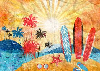 Watercolor tropical landscape of the sea and palm trees