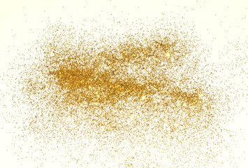 Textured background with golden glitter sparkle on white
