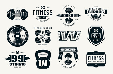 Gym club, fitness and workout badges and logo