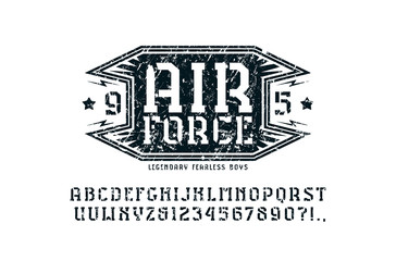 Stencil-plate serif font and air force emblem
