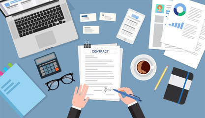 Contract signing top view, business concept illustration. Flat style vector illustration