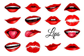 Red woman's lip icons set isolated on white background. Vector illustration for modern design
