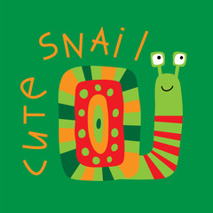 Print with a cute decorative snail on a green background