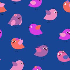 Stylish seamless texture with cartoon cute birds