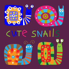Set of cute decorative snails in a children's style
