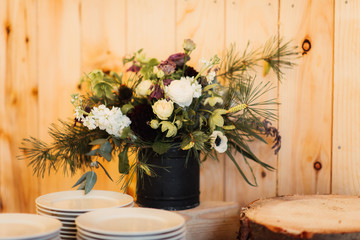 flowers on a table at a wedding reception
