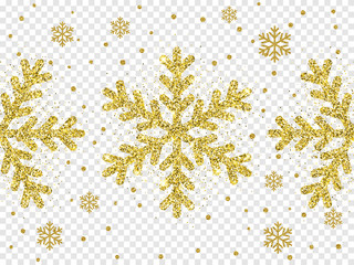 Christmas golden snowflake decoration of glittering sparkles shine with glare light effect on white transparent background. Vector sparkling snow flake shine for Christmas or New Year holiday template