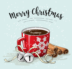 Red cup of coffee with cinnamon and jingle bells, christmas illustration