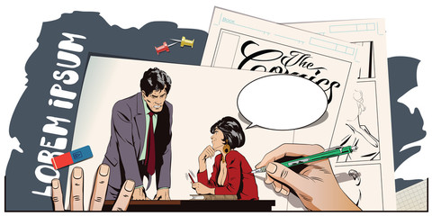 Woman is flirting with a guy at work. Stock illustration. People in retro style.