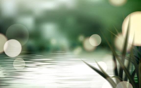 Bokeh lake or pond scene