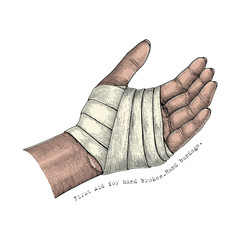 First Aid for hand broken.Hand bandage.Hand illustration vintage style