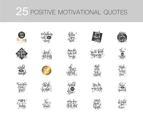 set of 25 hand lettering positive quotes