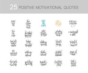 set of 25 handwritten lettering inscriptions positive quote