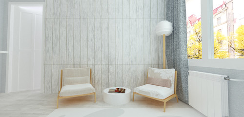 Two armchairs in white room with rustic wooden paneling on walls, modern Scandinavian style