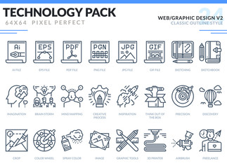 Web and Graphic Design Icons Set. Technology outline icons pack. Pixel perfect thin line vector icons for web design and website application.