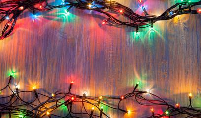 christmas celebration garland of light bulbs