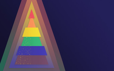 Symbolic Christmas tree in the colors of the LGBT flag