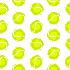 Tennis ball seamless pattern. Background for sports design, flyer, banner, poster, advertising. Prints for textiles, T-shirts.