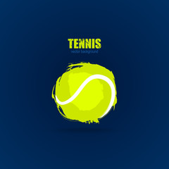 Tennis, abstract ball, design, element for a sports banner, poster, card, print for T-shirts.