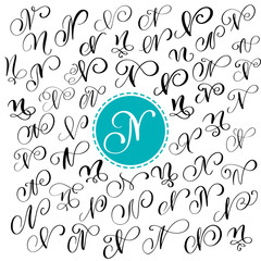 Set of Hand drawn vector calligraphy letter N. Script font. Isolated letters written with ink. Handwritten brush style. Hand lettering for logos packaging design poster
