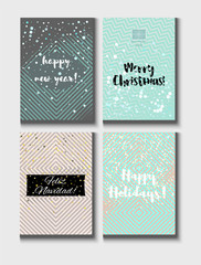 Christmas Card Vector Set with Lettering. Merry Christmas, Happy New Year, Feliz Navidad and Happy Holidays Text on Festive Background in Faded Blue, Pink, Grey, Snowfall. Tender Christmas Card Set
