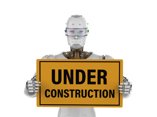 robot holding under construction sign