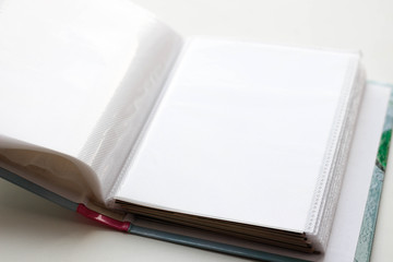 Empty photo album. A book with blank leaves. Closeup