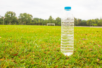 Drinking water on the football field
