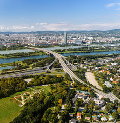 Aerial View Of Vienna City from Donou tower