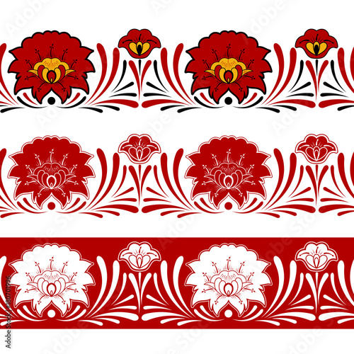 Set Of Russian Pattern Border Seamless Elements Vector Traditional