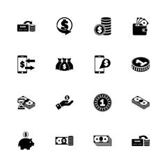 Currency - Expand to any size - Change to any colour. Flat Vector Icons - Black Illustration on White Background.