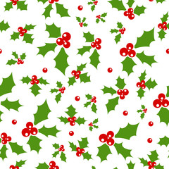 Holly berry. Seamless background with holly berries. Celebration christmas pattern. Vector illustration.