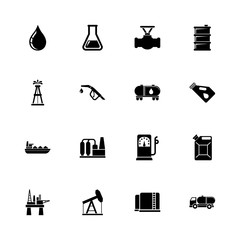 Oil - Expand to any size - Change to any colour. Flat Vector Icons - Black Illustration on White Background.