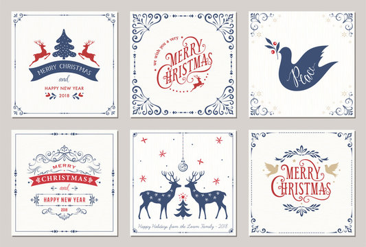 Ornate square winter holidays greeting cards with New Year tree, reindeers, Christmas ornaments, Peace Doves, swirl frames and typographic design.