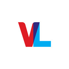 Initial letter VL, overlapping transparent uppercase logo, modern red blue color