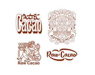 Aztec cacao logo collection for chocolate package design. Vector illustration.