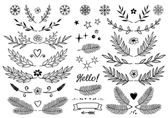 set of branches, snowflakes, flowers, design elements