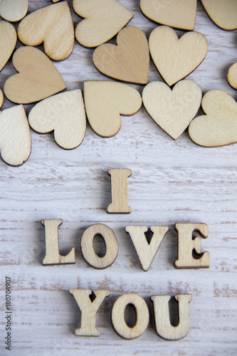 Lovely Heart Shape By Wooden Small Hearts On Rustic Wood