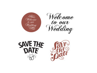 Wedding holiday logo collection for poster design. Vector illustration.