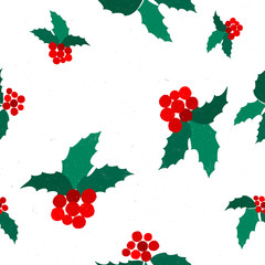 Seamless hand drawn grunge textures pattern with leaves and berries of Holly. Design element and Christmas attribute. Suitable for print, wallpaper, packaging.