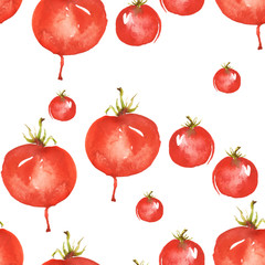 Watercolor red tomatoes on a white background. Seamless pattern, background. Art illustration, illustration, logo. Watercolor painting.