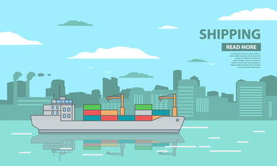 Cargo ship freighter container carrier the crane.City port buildings and factories pipes.Sea landscape of harbor.Flat in a vector.Delivery and maritime shipping transportation logistic vessel