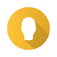 Human's head flat design long shadow glyph icon