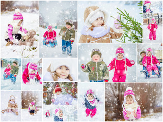 Collage children winter photo. Selective focus.