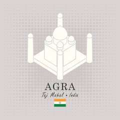 Vector travel banner. Schematic drawing of the taj mahal in Agra with the inscription and the indian flag on abstract background