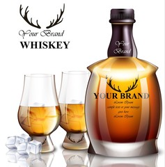 Whiskey realistic bottle Vector. Product packaging brand designs