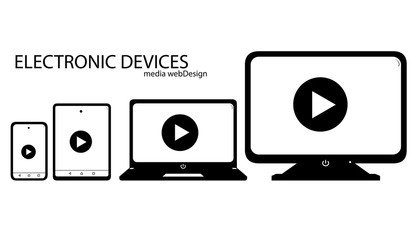 Device icons smartphone, tablet, laptop and desktop computer - Electronic device set