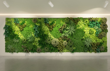 Green wall in modern office building