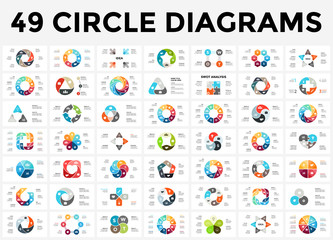 Vector circle arrows infographic, cycle diagram, graph, presentation chart. Business concept with 3, 4, 5, 6, 7, 8 options, parts, steps, processes.