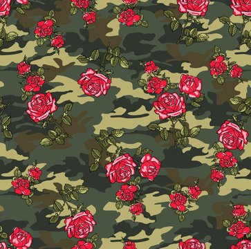 camouflage rose seamless vector pattern